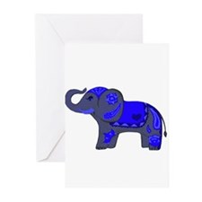 Henna Elephant (Blue/grey) Greeting Cards
