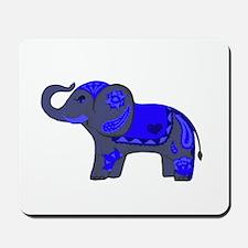 Henna Elephant (Blue/grey) Mousepad