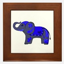 Henna Elephant (Blue/grey) Framed Tile