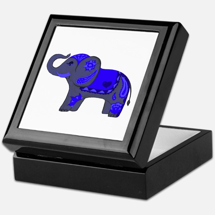 Henna Elephant (Blue/grey) Keepsake Box