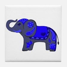 Henna Elephant (Blue/grey) Tile Coaster
