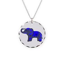 Henna Elephant (Blue/grey) Necklace