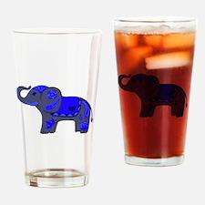Henna Elephant (Blue/grey) Drinking Glass