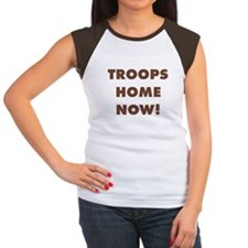 Troops Home Now! Women's Cap Sleeve T (Brown)