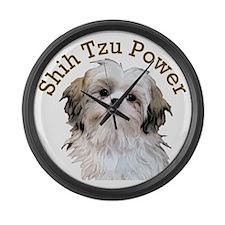 Shih Tzu Power Large Wall Clock