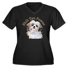 Shih Tzu Pow Women's Plus Size Dark V-Neck T-Shirt
