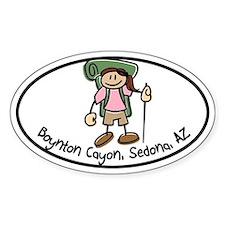 Boynton Canyon Girl Hiker Oval Decal