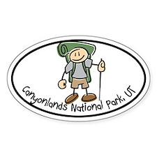Canyonlands Boy Hiker Oval Decal