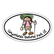 Canyonlands Girl Hiker Oval Decal
