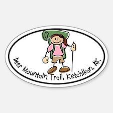 Deer Mountain Girl Hiker Oval Decal