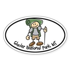 Glacier Nat Park Boy Hiker Oval Decal