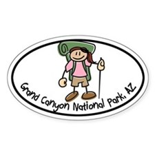 Grand Canyon Girl Hiker Oval Decal