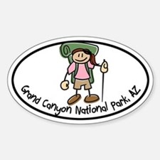 Grand Canyon Girl Hiker Oval Sticker (Oval)