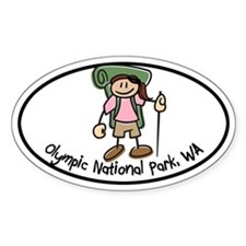 Olympic Girl Hiker Oval Decal