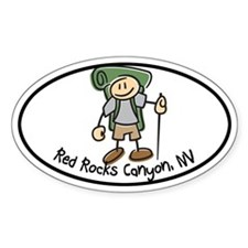 Red Rocks Boy Hiker Oval Decal