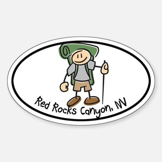 Red Rocks Boy Hiker Oval Sticker (Oval)