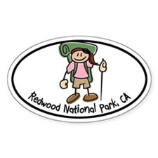 Redwood Girl Hiker Oval Decal