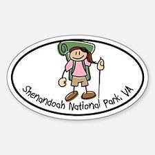 Shenandoah Girl Hiker Oval Sticker (Oval)