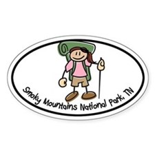 Smoky Mtns TN Girl Hiker Oval Decal