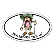 Zion Girl Hiker Oval Decal