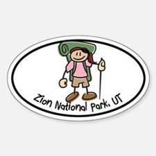 Zion Girl Hiker Oval Sticker (Oval)