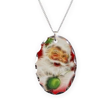 Fractal Santa Necklace Oval Charm