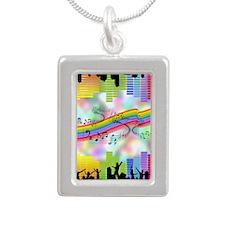 Colorful Musical Theme Silver Portrait Necklace