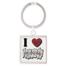 I Love Scandal Square Keychain