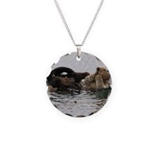 California Sea Otter Necklace Circle Charm