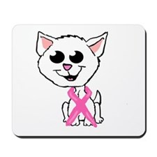 Pink Ribbon Kitten Mousepad