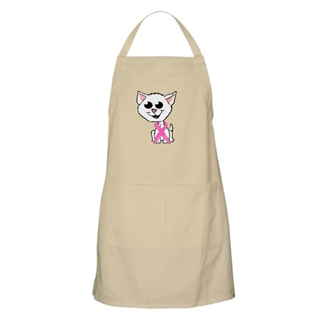 Pink Ribbon Kitten Apron