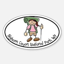 Bighorn Canyon Girl I Like to Hike Sticker (Oval)