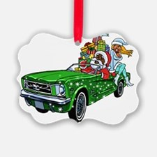 Muscle Car Santa Ornament