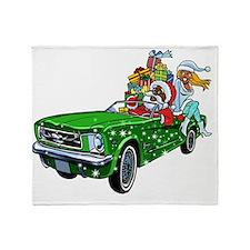 Muscle Car Santa Throw Blanket