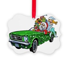 Muscle Car Santa Picture Ornament