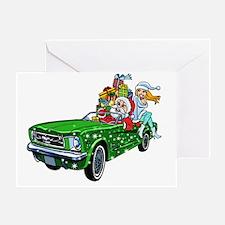 Muscle Car Santa Greeting Card