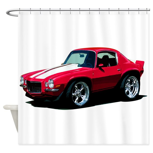 Babyamericanmusclecar 70cam red shower curtain by for Kitchen colors with white cabinets with muscle car stickers