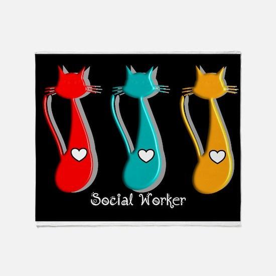 Social worker 5 Cats Throw Blanket