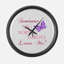 North Dakota State (Butterfly) Large Wall Clock