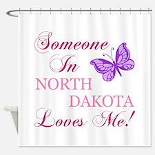 North Dakota State (Butterfly) Shower Curtain