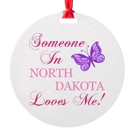 North Dakota State (Butterfly) Round Ornament