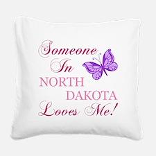 North Dakota State (Butterfly) Square Canvas Pillo