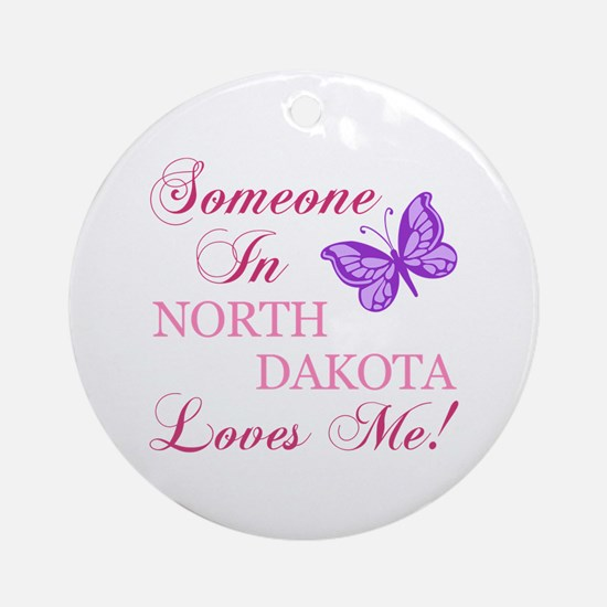 North Dakota State (Butterfly) Ornament (Round)