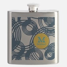 Lovely Monogram in a Pattern Background Flask