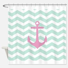 Pink Anchor Mint Chevron Shower Curtain