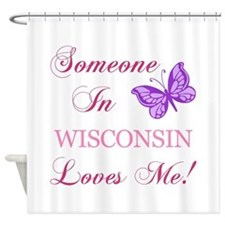 Wisconsin State (Butterfly) Shower Curtain