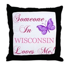 Wisconsin State (Butterfly) Throw Pillow