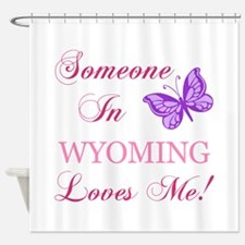 Wyoming State (Butterfly) Shower Curtain