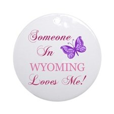 Wyoming State (Butterfly) Ornament (Round)
