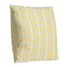 Yellow and Gray Herringbone Pattern Burlap Throw P